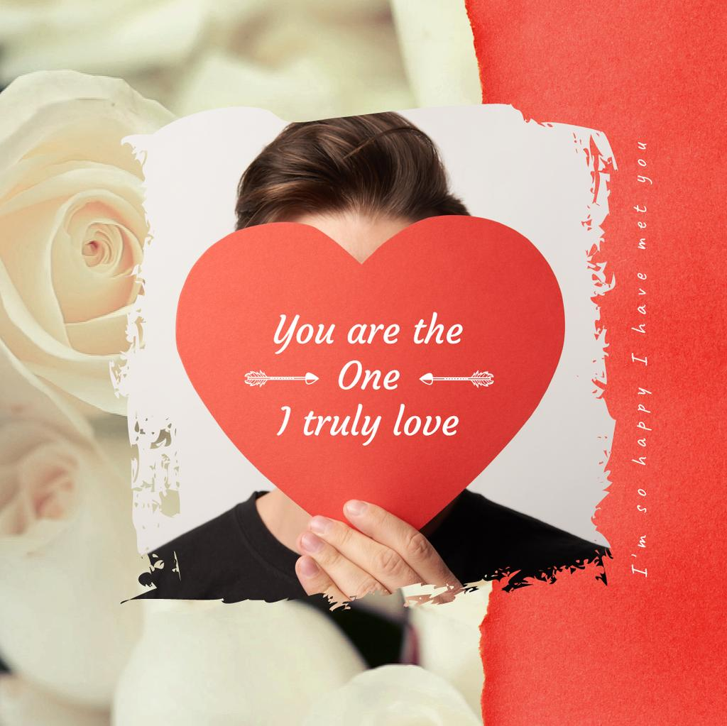 Young Man with Heart-shaped Valentine's Card — Maak een ontwerp