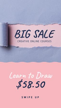 Creative Courses Offer Torn Paper in Blue Instagram Storyデザインテンプレート