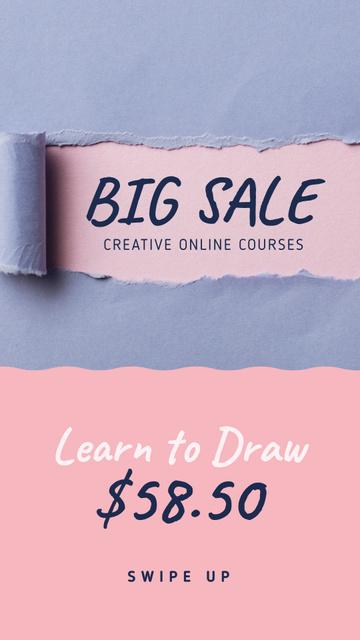 Creative Courses Offer Torn Paper in Blue Instagram Story Modelo de Design