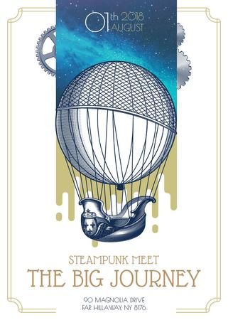 Plantilla de diseño de Steampunk event with Air Balloon Invitation