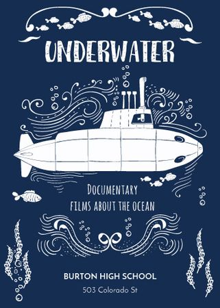 Plantilla de diseño de Underwater documentary film with Submarine Invitation