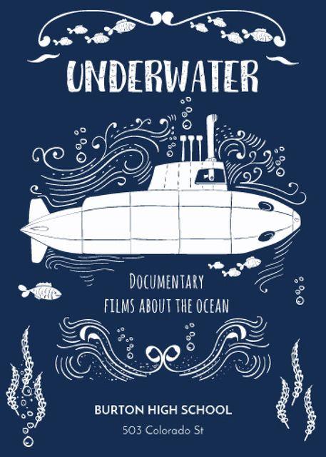 Template di design Underwater documentary film with Submarine Invitation