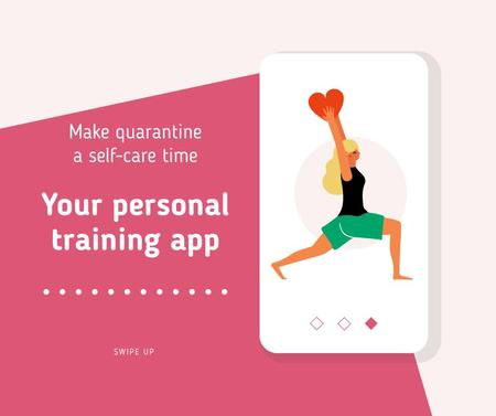 Quarantine Self-Care concept with Woman exercising Facebook Modelo de Design