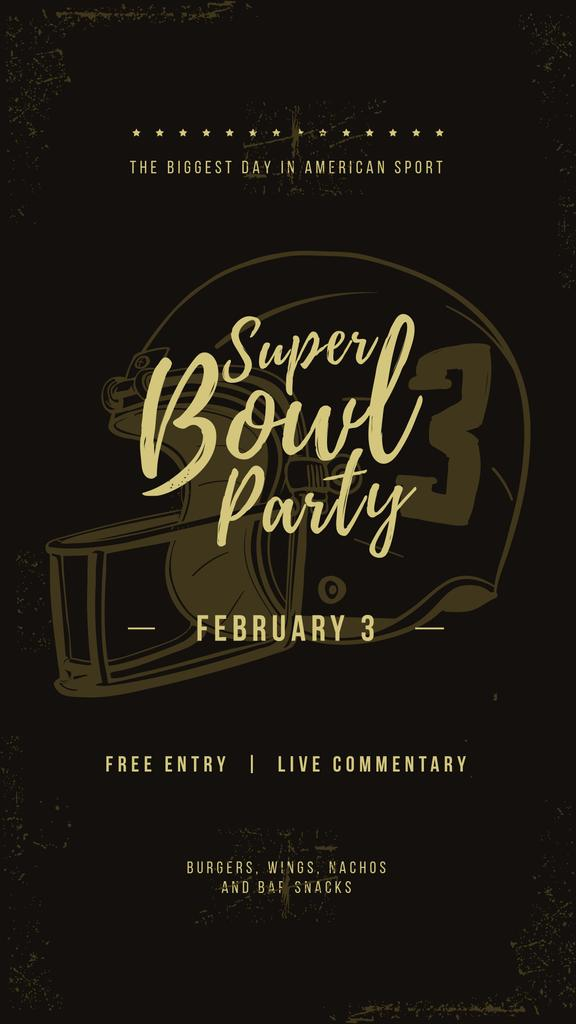 Superbowl Party Invitation with American football helmet — Создать дизайн