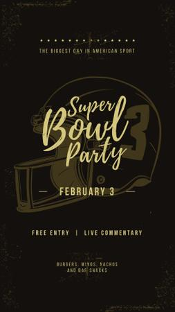Superbowl Party Invitation with American football helmet Instagram Story Design Template