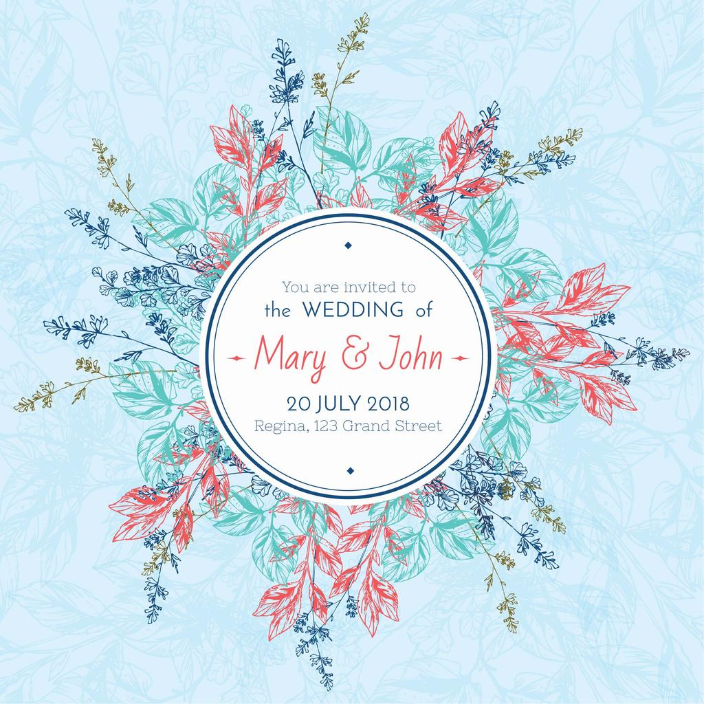 Wedding party Invitation with Circle of Flowers — Crea un design