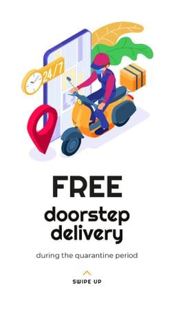 Plantilla de diseño de Delivery Services offer with courier during Quarantine Instagram Story