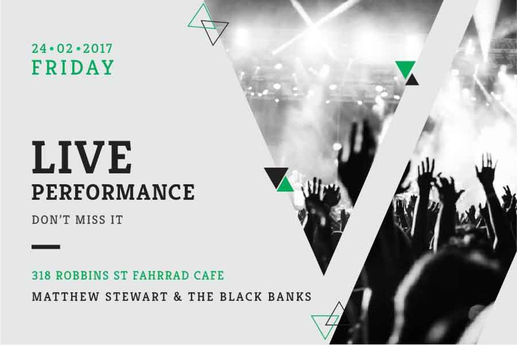 Live performance Announcement with crowd on concert Gift Certificate Design Template