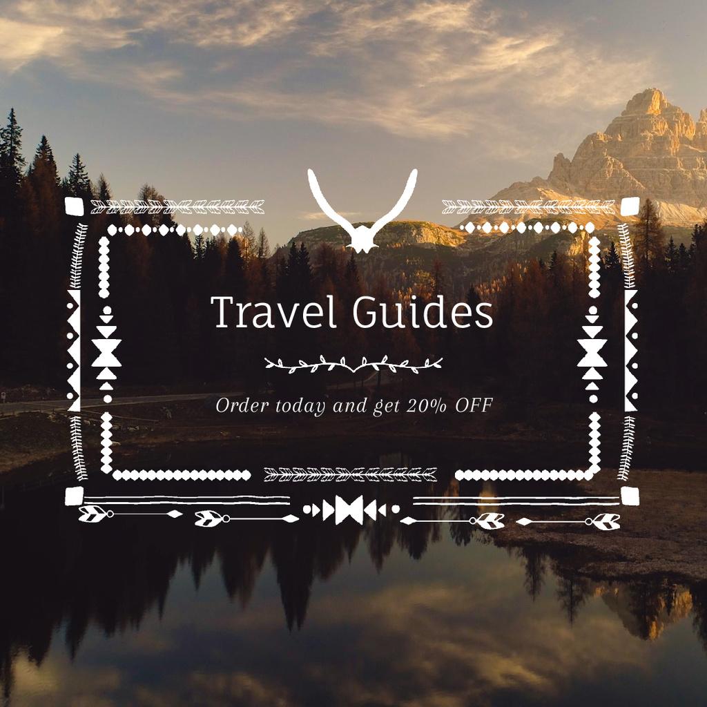 Wilderness Tour with Scenic Lake Mountains Bird View — Crear un diseño