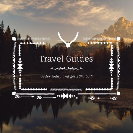 Template di design Wilderness Tour with Scenic Lake Mountains Bird View Animated Post