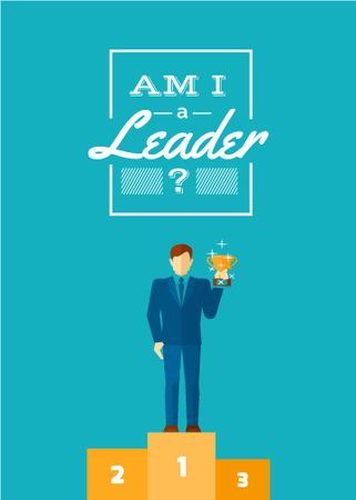 Business leadership concept Man with cup Flayer Modelo de Design