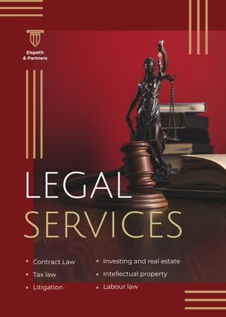 Legal Services Ad Themis Statuette Flayer Modelo de Design