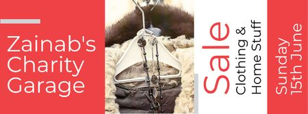 Plantilla de diseño de Charity Sale Announcement with Clothes on Hangers Facebook cover