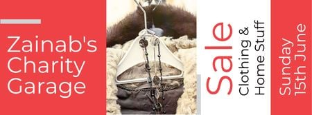 Designvorlage Charity Sale Announcement with Clothes on Hangers für Facebook cover