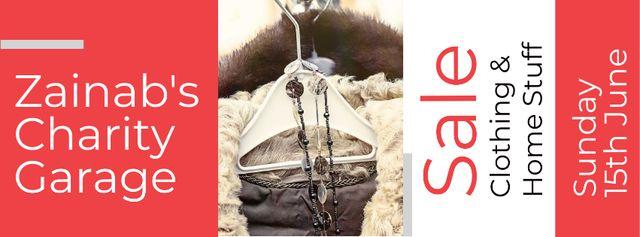 Plantilla de diseño de Charity Sale Announcement with Clothes on Hangers Facebook cover