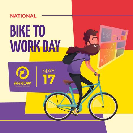 Bike to Work Day Smiling Man Cycling Instagram – шаблон для дизайна