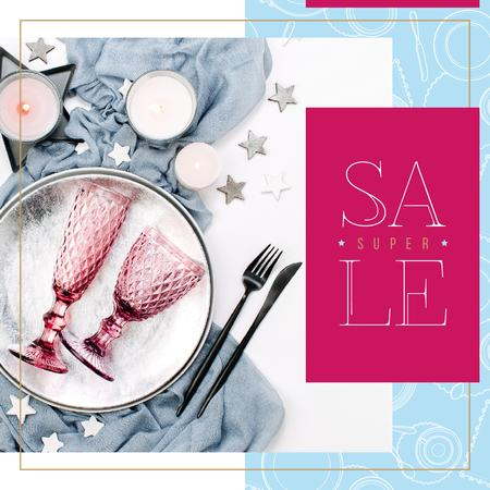 Designvorlage Sale Offer with Festive formal dinner table setting für Instagram