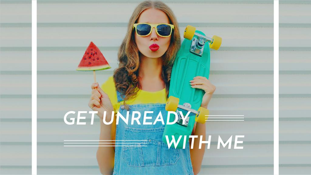 Summer Fashion Ad Girl Holding Skateboard and Watermelon — Create a Design