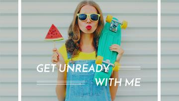 Summer Fashion Ad Girl Holding Skateboard and Watermelon | Youtube Thumbnail Template