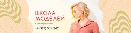 Models School with Attractive Woman in Pink VK Community Cover Modelo de Design