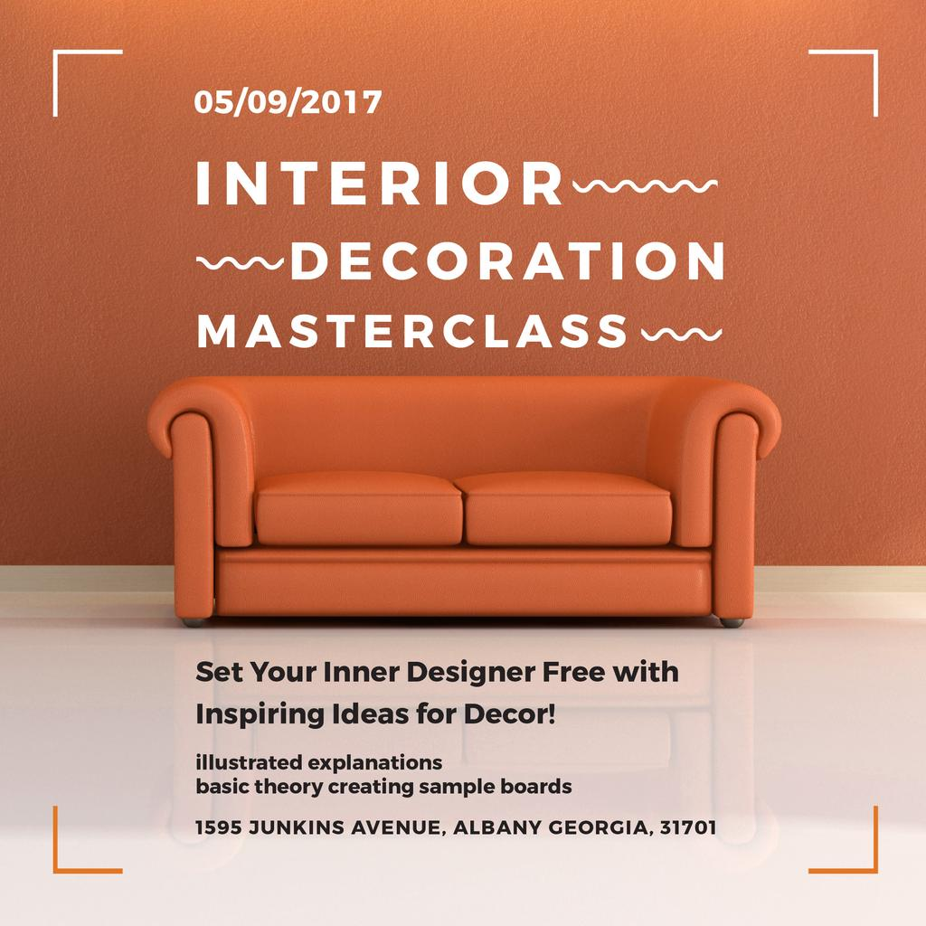 Interior decoration Masterclass with Orange Sofa — Modelo de projeto