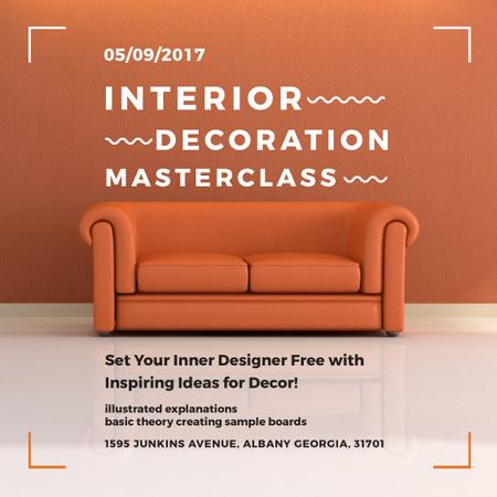 Plantilla de diseño de Interior decoration Masterclass with Orange Sofa Instagram