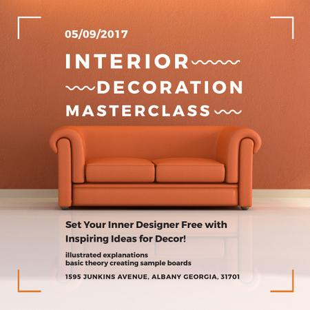 Interior decoration Masterclass with Orange Sofa Instagram Tasarım Şablonu