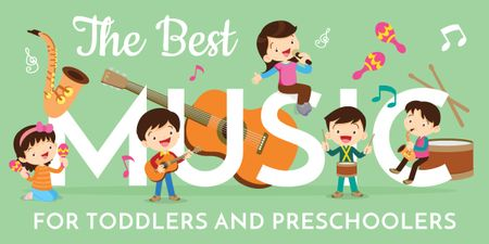 Ontwerpsjabloon van Image van Kids playing music instruments
