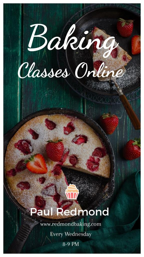 Bakery Classes Promotion Pie with Strawberries | Vertical Video Template — Modelo de projeto