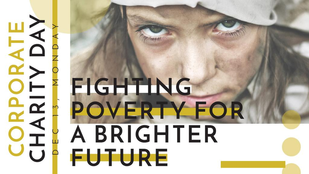 Poverty quote with child on Corporate Charity Day — Maak een ontwerp
