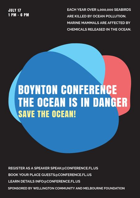 Plantilla de diseño de Boynton conference the ocean is in danger Poster