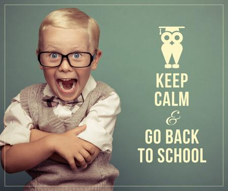Plantilla de diseño de Back to Schools Offer Shocked Schoolboy Facebook