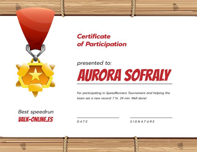 Template di design Games Speedrun Participation award with medal Certificate