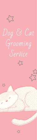 Plantilla de diseño de Pet Grooming Service Sleepy Cat in Pink Skyscraper