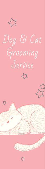 Pet Grooming Service Sleepy Cat in Pink Skyscraper – шаблон для дизайну