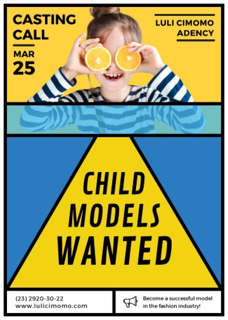 Plantilla de diseño de Funny girl with oranges for Models Casting Flayer