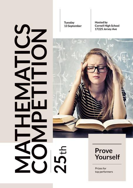 Ontwerpsjabloon van Poster van Mathematics Competition Announcement with Thoughtful Girl