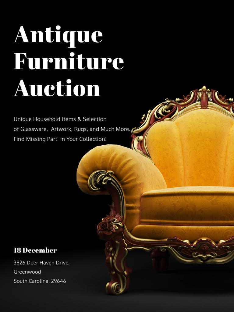 Antique Furniture Auction Luxury Yellow Armchair — Создать дизайн