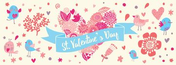 Valentine's Day Greeting Hearts and Birds | Facebook Cover Template