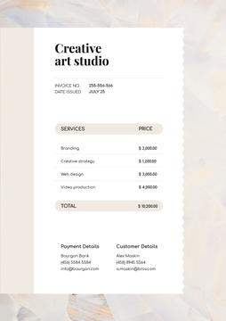 Creative Art Studio Services Invoice