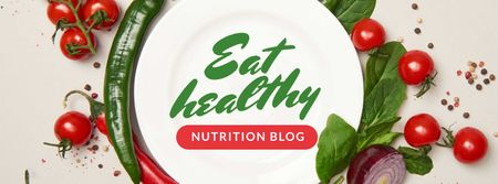 Plantilla de diseño de Nutrition Blog Promotion Healthy Vegetables Frame Facebook cover