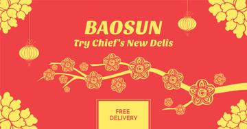Asian Food Restaurant Ad Sakura Flowers