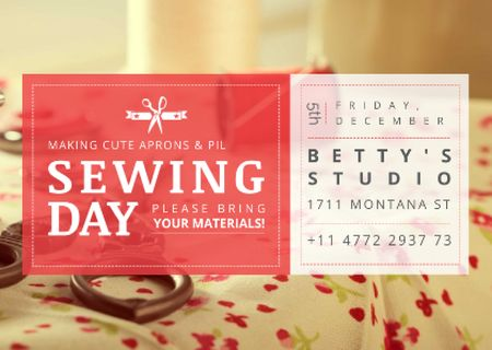 Plantilla de diseño de Sewing day event with needlework tools Postcard
