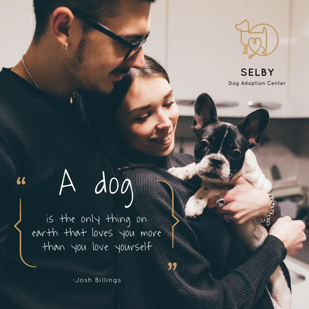 Pet Adoption Ad Couple with Puppy | Instagram Post Template — Maak een ontwerp