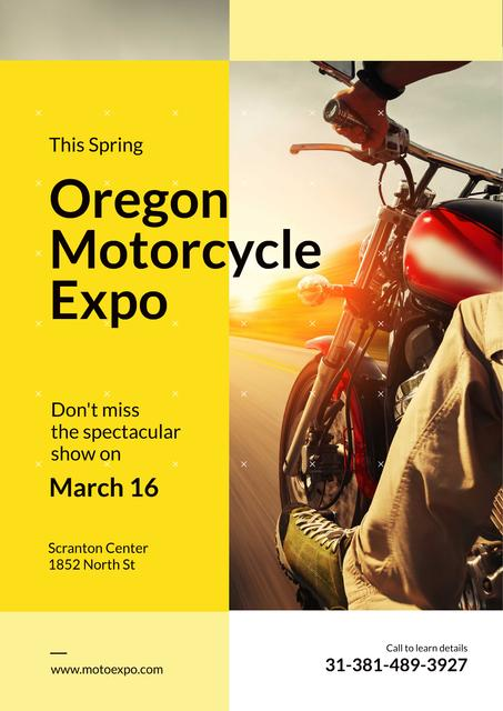 Motorcycle Exhibition with Man Riding Bike on Road Posterデザインテンプレート
