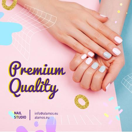 Nail Studio Offer with Manicured Female Hands  Animated Post Modelo de Design