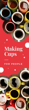 Cafe Promotion Cups with Hot Coffee | Wide Skyscraper Template