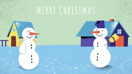 Two funny snowmen Full HD video Modelo de Design