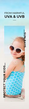 Uv Protection Guide Little Girl at the Beach | Wide Skyscraper Template