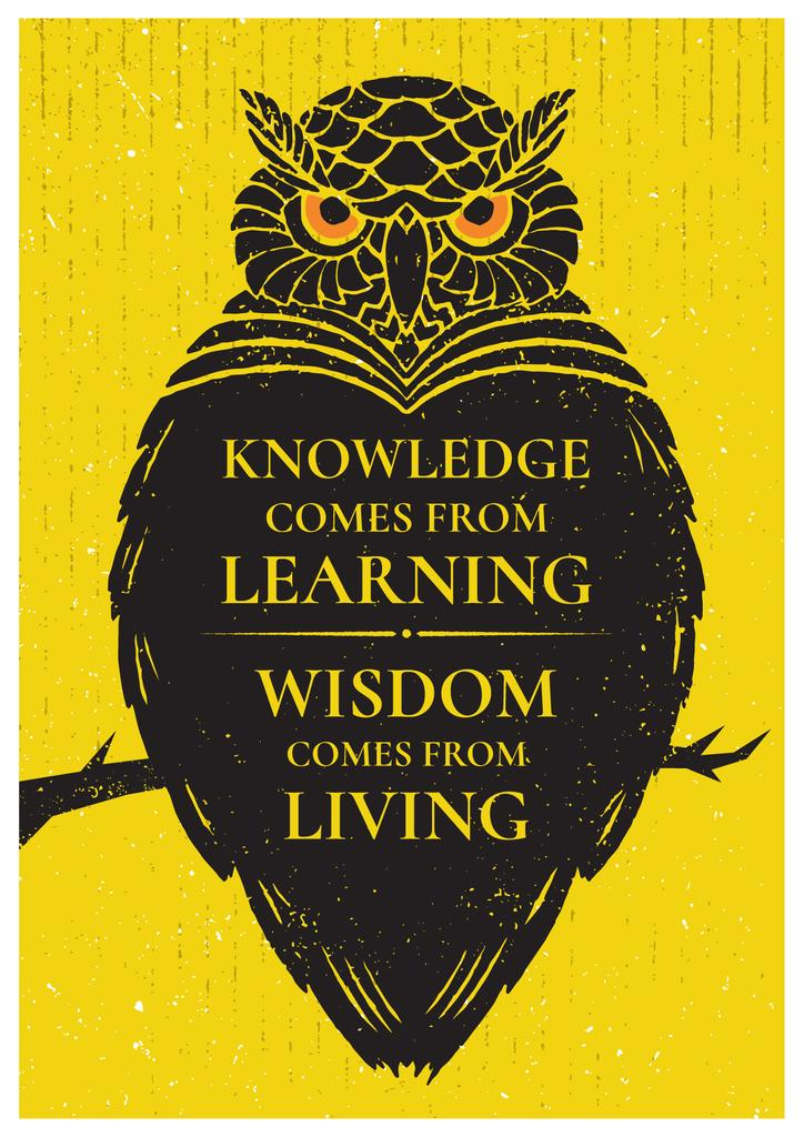 Knowledge quote with owl — Modelo de projeto